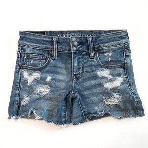 American Eagle Super Low Shortie Distressed Shorts